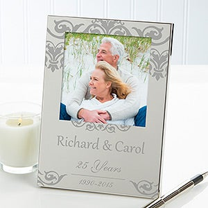 Anniversary Memories Personalized Engraved Silver Picture Frame