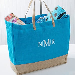 Personalized Turquoise Burlap Tote Bags - 14566