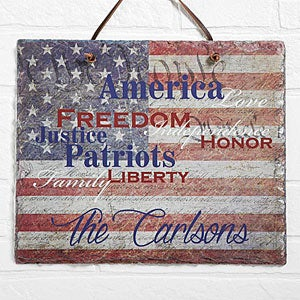Personalized American Flag Plaque - Patriotic Family - 14581