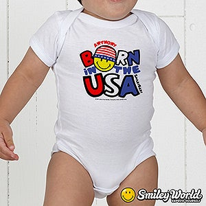Personalized Patriotic Smiley Face Baby Clothes - Born In The USA - 14583
