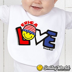 Personalized 4th Of July Kids Clothes - Red, White & Blue Smiley Face - 14584