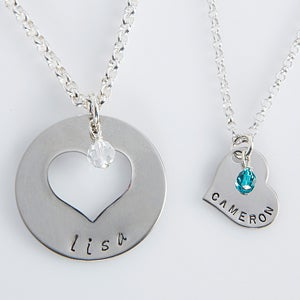 personalized mother daughter necklace set mommy me