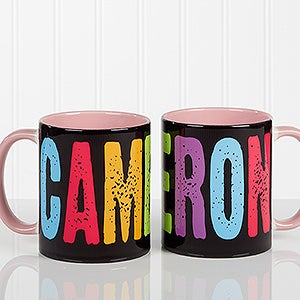 Custom Personalized Name Coffee Mug Pink Handle All