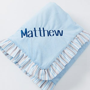 Personalized Blue Baby Blanket Embroidered Velour