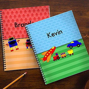 Personalized Boys Notebook Set - Sports, Cars, Dinosaurs & Robots - 14631