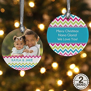 Personalized Photo Christmas Ornaments - Double Sided Chevron - 14633