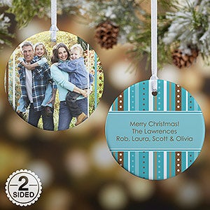 Personalized Photo Christmas Ornament - Blue Stripes - Double Sided - 14637