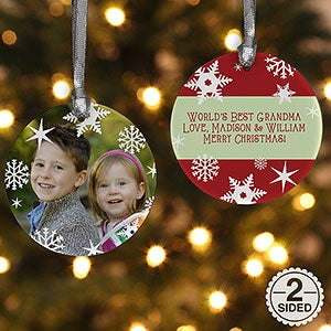 Personalized Photo Christmas Ornament - Snowflakes - Double Sided - 14638