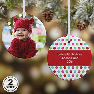 Personalized Photo Christmas Ornament - Baby - Polka Dot - Double Sided - 14641