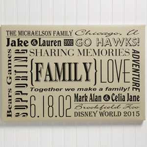 Personalized Family Canvas Print Wall Art - Our Family  - 14678