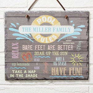 Custom Personalized Pool Rules Slate Sign - Water Rules Plaque - 14689