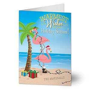 Personalized Tropical Beach Christmas Cards - Warmest Wishes - Flamingos - 14718