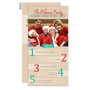 Personalized Photo Family Christmas Cards - Christmas Wish List - 14719