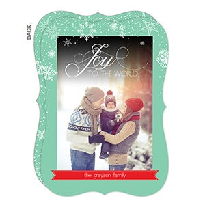 Personalized Photo Christmas Cards - Falling Snowflakes - married and merry - 14723