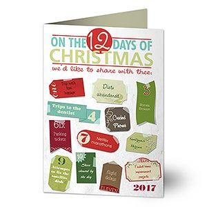 Personalized Christmas Cards - 12 Days of Christmas - Funny - 14725