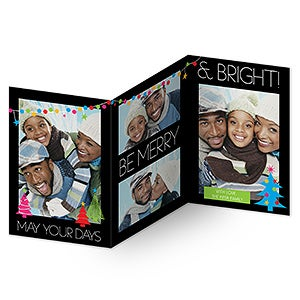 Personalized Photo Christmas Cards - Holiday Excitement - 3 Panel - 14728