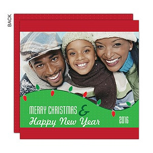 Personalized Photo Christmas Cards - Holiday Lights - 14734