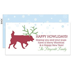 Personalized Pet Christmas Cards - Happy Howlidays Dog Postcard - 14739