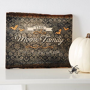 Personalized Halloween Wood Sign Wall Art - Haunted Halloween - 14745