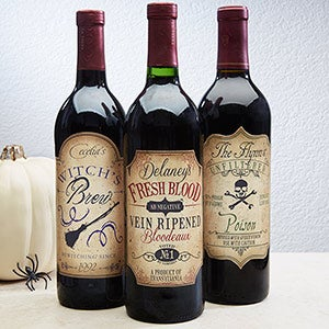 personalized wine bottle labels vintage halloween. Black Bedroom Furniture Sets. Home Design Ideas