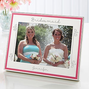 Engraved Pink Border Photo Frame - My Bridesmaid - 14825