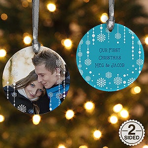 Personalized Photo Christmas Ornament - Blue Snowflakes - Double Sided - 14828