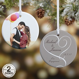 Personalized Engagement Photo Christmas Ornaments 2Sided