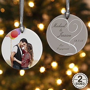 2-Sided Our Engagement Photo Personalized Ornament