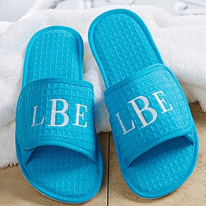 Personalized Waffle Weave Spa Slippers - Aqua - 14847