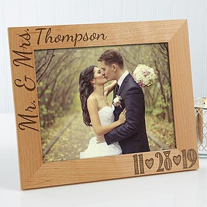 personalized wedding photo wood frame our wedding date 8x10