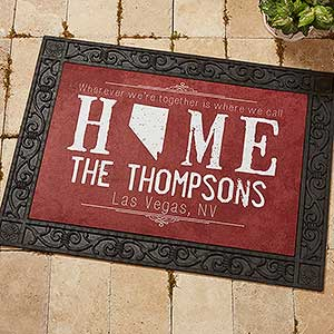 Personalized State Of Love Doormat   State Map   14871