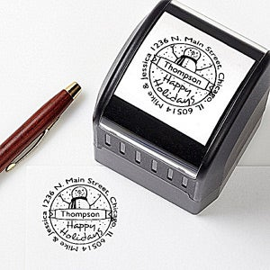Personalized Holiday Address Stamp - Snowman Greetings - 14883