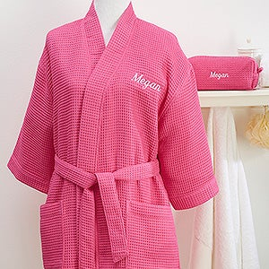 Personalized Pink Kimono Robe & Cosmetic Bag Set - 14886