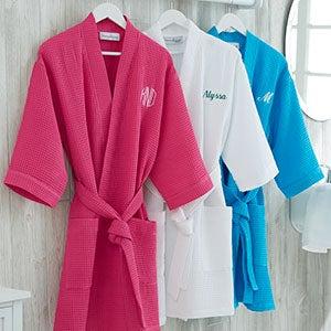 61e901d110c6 Embroidered Waffle Weave Kimono Robe