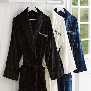 embroidered men 39 s luxury fleece robe just for him name romantic gifts. Black Bedroom Furniture Sets. Home Design Ideas