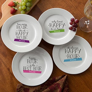 Personalized Cocktail Plate Set - Happy Hour - 14921