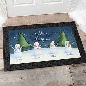 Personalized Winter Watercolor Doormat - Our Snowman Family - 14990
