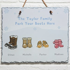 Personalized Winter Boots Wall Art Slate Plaque - Warm Winter Wishes - 14997