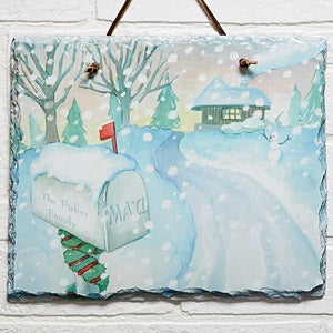 Personalized Winter Wall Art Slate Plaque - Enchanted Snow Escape - 14998