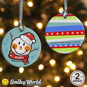 Personalized SmileyWorld Christmas Ornament - Snowman - 15009