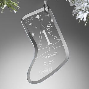 Engraved Glass Christmas Ornament - Baby's First Christmas - 15022