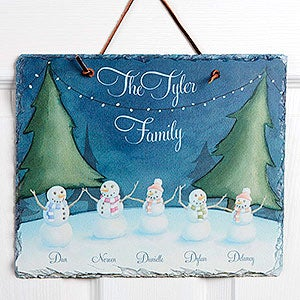 Personalized Christmas Watercolor Slate Plaque - Our Snowman Family - 15025