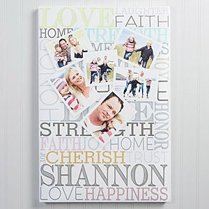 Personalized Photo Heart Collage Canvas Print - 15026