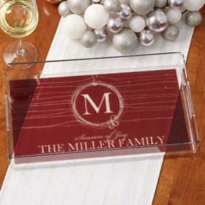 Personalized Christmas Serving Tray - Holiday Wreath - 15032