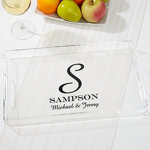personalized serving tray family monogram