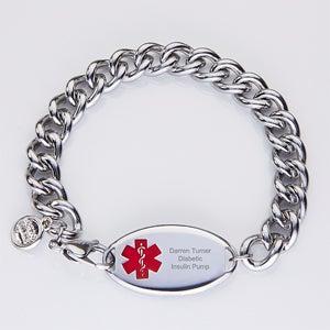 Personalized Stainless Steel Men's Medical Bracelet - 15035
