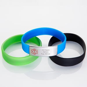 Personalized Youth Boys Silicone Medical Bracelet 4-Piece Set - 15038