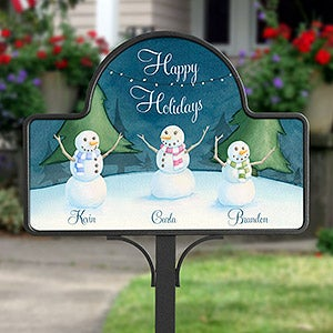 Personalized Christmas Garden Stake - Our Snowman Family - 15062