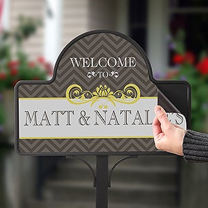 Personalized Garden Stake and Magnet - Classic Chevron - 15063