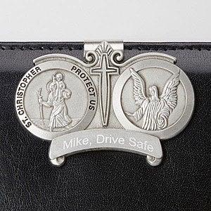Engraved St. Christopher Visor Clip - 15066